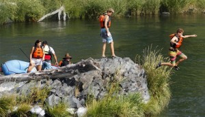 Swimming on the Deschutes River in Oregon